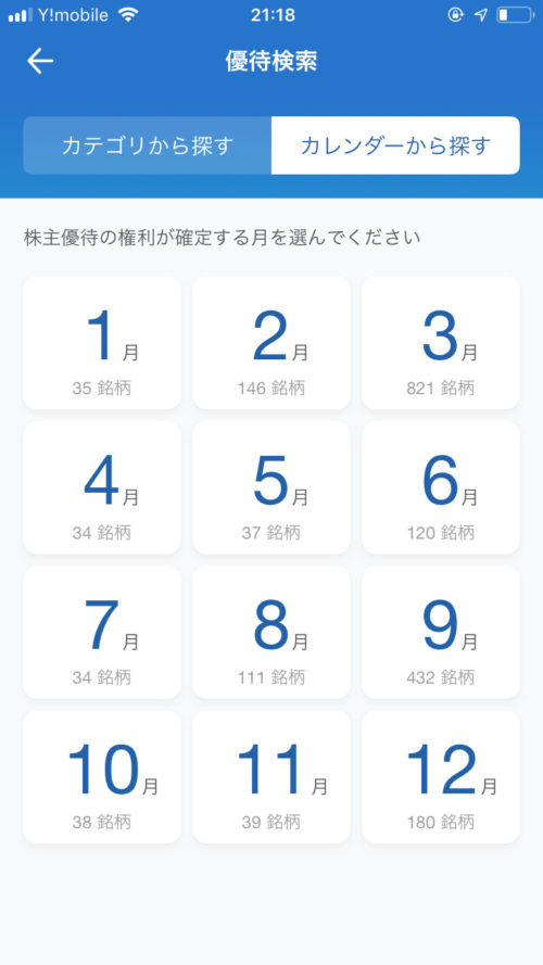 SBIネオモバイル証券アプリ・カレンダーから探す